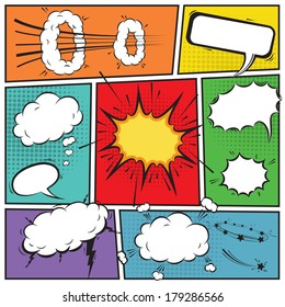 Comic speech bubbles and comic strip background vector illustration