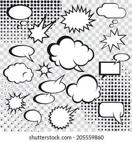 Comic speech bubbles and comic strip on monochrome halftone background vector illustration