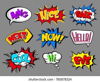 Comic speech bubbles with text set, bang, nice, sale, next, now, hello, cool, love, hi, sound effect cloud vector Illustrations