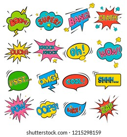 Comic speech bubbles. WOW. Super. Psst. OMG! OOPS! COOL! BOOM! CRASH! POW! ZAP! Oh! OUCH!LIKE!BANG!Knock knock!SHHH...  Vector illustration in pop art style