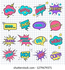 Comic speech bubbles. WOW. Super. Psst. OMG! OOPS! COOL! BOOM! CRASH! POW! ZAP! Oh! OUCH!NO!BANG!Knock knock!SHHH...  Vector illustration in pop art style