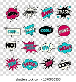 Comic speech bubbles. WOW. Super. Psst. OMG! OOPS! COOL! BOOM! CRASH! POW! ZAP! Oh! OUCH!NO!BANG!Knock knock!SHHH...  Vector illustration