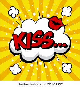 Comic Speech. Pop Art Style Kiss Expression. Text Icon. Vector Illustration.