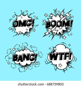Comic speech sound bubbles set with different emotions and text BOOM, OMG, BANG, WTF. Vector cartoon illustrations isolated on blue background. Halftones, stars and other elements in separated layers.