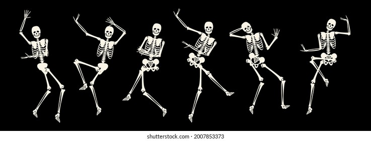 Comic spooky dancing skeleton for party or holiday design. Active scary skeletal human body dancer jumping and making funny movement vector illustration isolated on black background