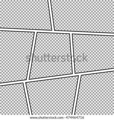 Comic Strip Background Frame Different Panels Template Image