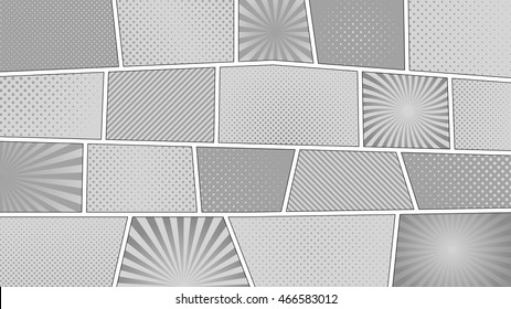 Comic strip monochrome background with 16:9 aspect ratio. Different colorful panels. Rays, lines, dots. Template, vector, eps 10.
