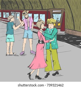 Comic strip. People say goodbye at the subway. Farewell at the station near a train. A woman is hugging with a man. The teenager and the guide shake hands. Sketch style. Vector illustration
