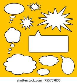 Comic strip speech balloon vector set