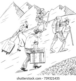 Comic strip. Tired travelers climb a mountain. Tourists follow the guide. Hot summer. Mountains with snow. A husband took heavy suitcases and his wife go on a mountains in heels. Sketch illustration