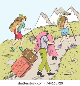 Comic strip. Tired travelers climb a mountain. A tourists follow a pathway. Hot summer. In the distance you can see mountains with snow. A husband took his wife in his arms. A woman carries suitcases
