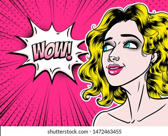 Comic style beautiful young woman saying wow in speech bubble, pop art girl, advertisement, vector illustration