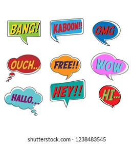 Comic style bubble speech cartoon set isolated on white background vector illustration. Pop art of bang, kaboom, OMG, ouch, free, wow, hallo, hey, hi