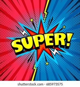 Comic style cool cartoon book poster, superhero speech bubble, joyful expression