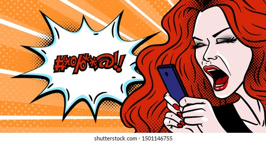 Comic style girl angry at her phone message and swearing, beautiful young redhead woman, pop art, vector illustration