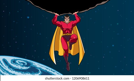 Comic style Illustration of powerful and brave superhero holding huge asteroid above his head during dangerous mission.