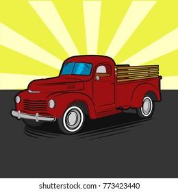 Comic style pop art farmer pickup truck vector illustration icon. Vintage transport vehicle