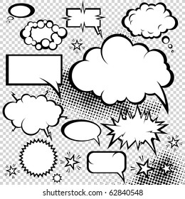 Comic style speech bubbles collection. Funny design vector items illustration.
