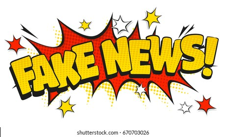 Comic Style speech bubbles with Fake News related text in retro pop art style isolated on white background.