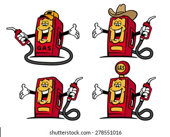 Comic style vector illustrations - welcoming gas pumps which are promoting their service. Isolated on white background. EPS 8, CMYK.