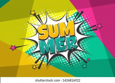 Comic summer text speech bubble pop art style. Cloud talk speech bubble geometric background. Isolated speech bubble talk silhouette with text summer. Text comics design elements web sms message chat.
