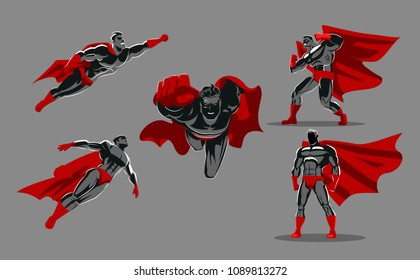 Comic superhero actions in different poses. Hero set. Male super hero vector cartoon characters. Vector illustration. Set or collection of heroic cartoon character.