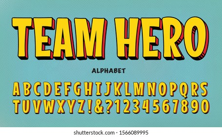 A comic superhero font. Team Hero is a vector alphabet in bright yellow with a red and black 3d drop. It is similar to vintage lettering styles from the classic comic book genre.