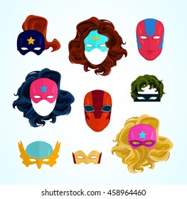 Comic Superhero masks set. Superhero photo props, heroic face characters, woman and man hairs. Hand drawn vector illustration, flat style, isolated on white.