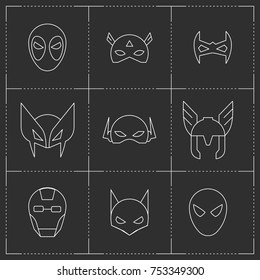 Comic Superhero masks set. Vector line style illustration