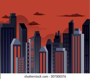 Comic superhero style pollute buildings landscape