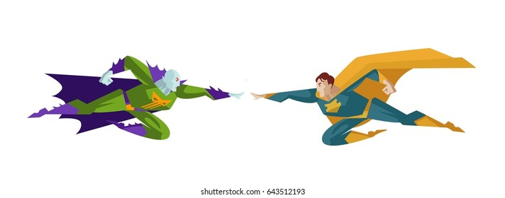 comic superhero vs villain