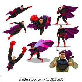 Comic superman actions in different poses. Hero set. Male super hero vector cartoon characters. Vector illustration. Set or collection of heroic cartoon character.