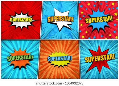 Comic superstar bright collection with colorful speech bubbles star halftone shape radial dotted and rays effects. Vector illustration