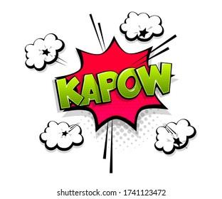 Comic text Kapow on speech bubble cartoon pop art style. Colorful halftone speak bubble cloud background. Retro humor chat tag template. Comic text icon sticker.