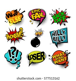 Comic text sound effects. Bubble icon speech phrase. Cartoon exclusive font label tag expression. Sounds vector illustration. Comics book balloon. Aggressive lettering comic text collection.