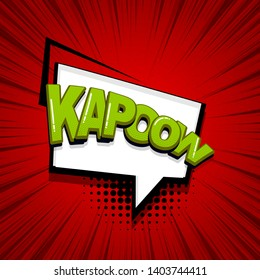 Comic text speech bubble pop art style. Cloud talk speech bubble geometric background. Isolated speech bubble talk silhouette with text kapow. Text comics design elements web sms message chat.