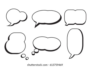 Comic text speech bubble star set vector.Dialog empty box space with isolated white background