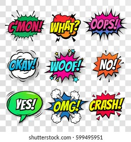 Comic text speech bubbles vector isolated templates set. Sound effect icons of come on, what, oops, okay, woof, no and yes, omg, crash color phrase lettering on transparent background