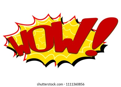 Comic Text Speech. Icon Lettering of Wow. Poster for Print. Vector Illustration