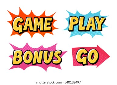 Comic text vector icons. Lettering such as Game, Play, Go, Bonus