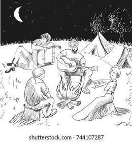 Comic. Tired travelers on a night of rest. Lost. A guide in glasses plays a guitar and looks sexually at the lady. A boy and a girl listening. A blonde man fell asleep on the suitcase. Sketch style.