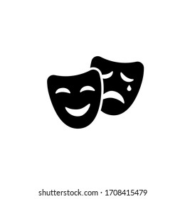 Comic and tragic mask icon in black simple design on an isolated background. EPS 10 vector