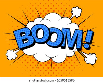 Comic Vector cartoon illustration explosions. Comics Boom! Symbol, sticker tag, special offer label, advertising badge. Sign banner. Comics speech bubble bang. Clouds for explosions like boom. Pop-art