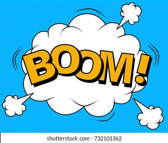 Comic Vector cartoon illustration explosions. Comics Boom. Symbol,sticker tag,special offer label,advertising badge. Sign banner. Comics speech bubble bang.Clouds for explosions like boom. Pop-art