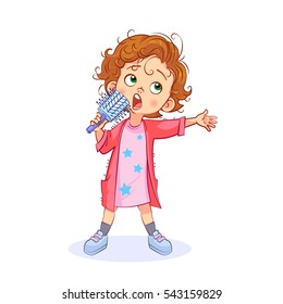 Comic vector children's illustration of funny girl emotionally sings with a hair brush instead of a microphone.