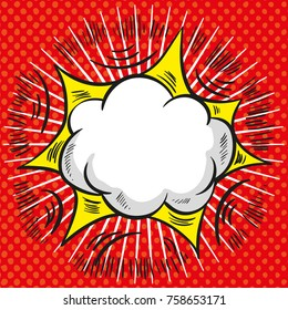Comic vector speech cloud with red explosion and rays on halftone background