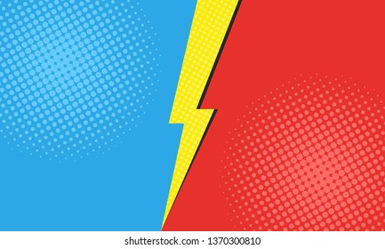 Comic versus background with two opposite sides - blue and red. Pop art style with halftone dots and lightning. Template design for fight, battle, competition or comparison background. Vector