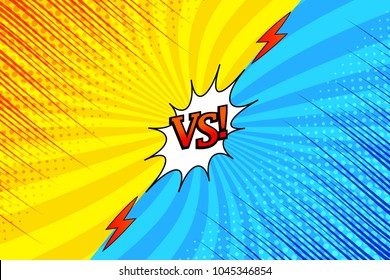 Comic versus bright background with two opposite yellow and blue sides, red inscription, lightnings, halftone, rays and radial effects. Vector illustration