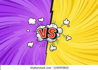 Comic versus competitive concept with radial rays halftone effects lightning speech bubble blue VS letters on yellow and red backgrounds vector illustration