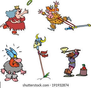 Comic vikings. Set of cartoon vector illustrations.